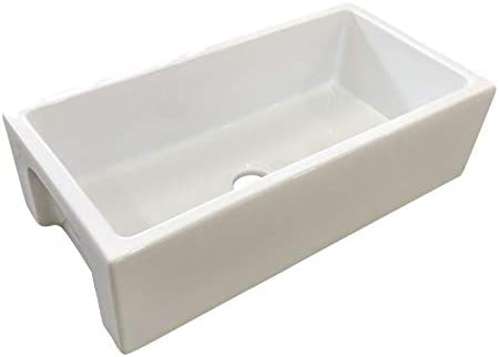 Fireclay Sink, Single Bowl Farmhouse Apron Kitchen Sink, Flat or Fluted Reversible Installation Option, White, 36 Inch.