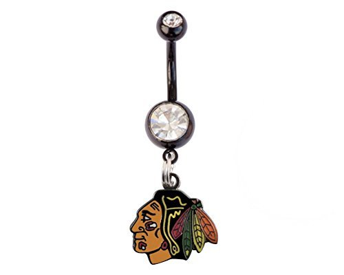 Final Touch Gifts Chicago Blackhawks Belly Button Navel Ring (Rings Button Belly Blackhawks)