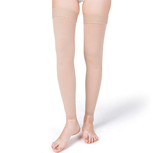 DAITET Compression Stockings Women 20-30 mmHg, Opaque, Thigh High Compression Socks (Large, Beige Open Toe)