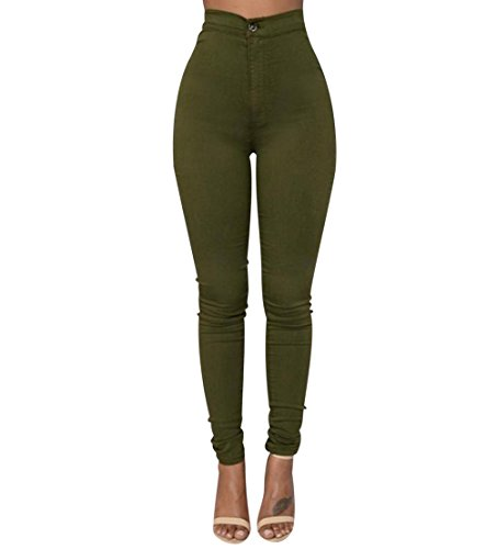 Isshe Pantalones Cintura Alta Skinny Mujer Pantalon Slim Tiro Alto Mujer Jeggings Leggins Push Up Senora Leggings Chollos Shop