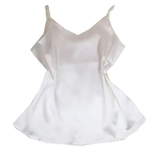 HEFASDM Women's Solid Straps V Neck Sleeveless Charmeuse Tank Top Shirt White XS