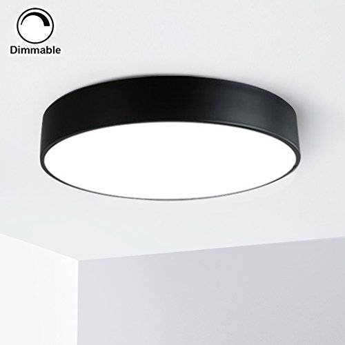 Flush Mount Natural (Sunglobal 20W LED Flush Mount Ceiling Light, Ultra-thin 5cm,12-inch,4000k Natural light,1360lm, Dimmable (Black, 12 inch))