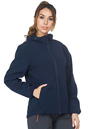 MIER Women's Windproof Softshell Jacket with Hood Fleece Lined Warm Up Jacket, Water Resistant and Zip Front, Navy Blue, M
