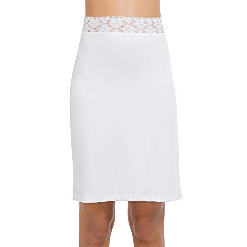 MANCYFIT Half Slips for Women Underskirt Short Mini Skirt with Floral Lace Waistband White XX-Large