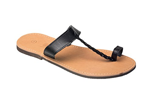 Gesu vera Grecia fatti Nero con cinghiette di Infradito colore mano a 36 47 Premium Sandali dalla pelle beige di Creta Dimensione di 5OqOXw