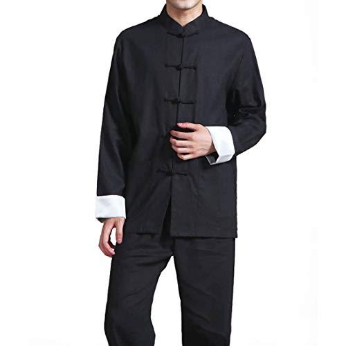 Men's Cotton Linen Kung Fu Suit Chinese Martial Arts Uniform Meditation Suit Roll-Up Sleeve Frog Button Shirt Pants Outfit (Black, L)