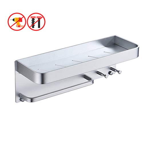 (Gjfhome Bathroom Shelf, Scrub Rack Wall Mount Bathroom Shelves Multifunctional Kitchen Spice Rack Bathroom Organizer Self Adhesive,Silver,40CM)