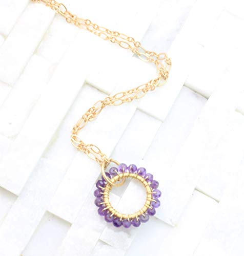 February Birthstone Circle pendant necklace gold plate semi-precious amethyst