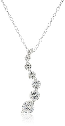 Sterling Silver Cubic Zirconia Journey Swirl Pendant Necklace, (Cubic Zirconia Journey Pendant)