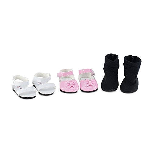 18 Inch Doll Clothes| Value Pack Doll Shoes, Including Pink Easter Dress Shoes, White Sandals and Black Boots |Fits American Girl Dolls (Doll Shoes Rose)