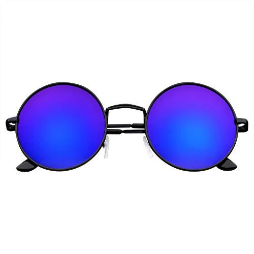 John Lennon Inspired Sunglasses Round Hippie Shades Retro Colored Lenses (Blue Ice)]()