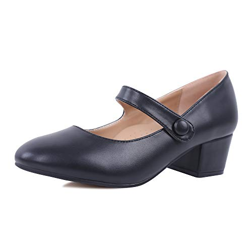 Robasiom Womens Low Heel Mary Jane Style Comfortable Ankle Strap Court Shoes Pumps for Women Office Size