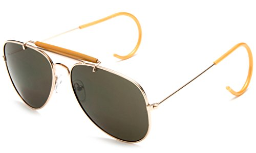 Timeless Classic Aviator Sunglasses with Brow Bar and Cable Wire Wrap Ears Temples Secured Fit