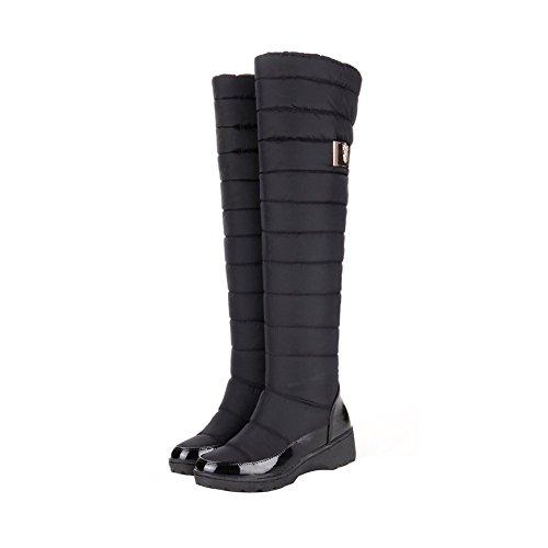 ENMAYER Frauen Down Material Wasserdichte und warme Schnee Stiefel Flat Thick Heel Mid-Kalb Stiefel Schwarz#53