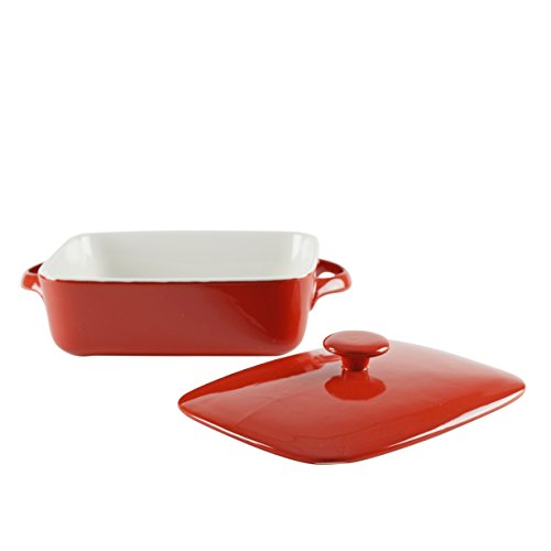 "10 Strawberry Street SIENA-9RECCVCSS Sienna Rectangular Bakeware with Lid, 9"", Red/White"
