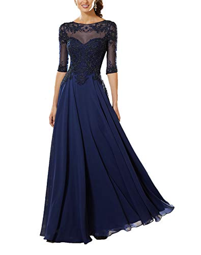 Women's Lace Applique Beaded Mother of The Bride Dress Half Sleeve Chiffon Evening Formal Party Dress 14