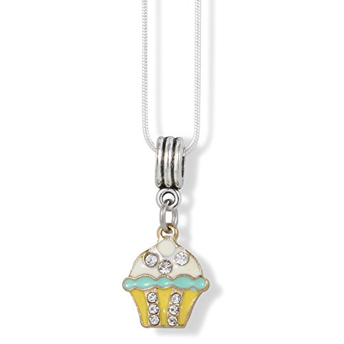 Icing Charm Necklace - EPJ Cupcake White and Blue Icing on Yellow Bottom with Rhinestones Charm Snake Chain Necklace