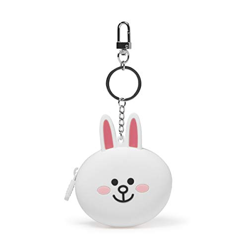 (LINE FRIENDS Coin Purse - CONY Character Design Silicone Change Holder Wallet Bag Charm for Women, White)