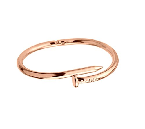 Designer Inspired Titanium Steel Nail Cuff Bangle Bracelet (Rose ()