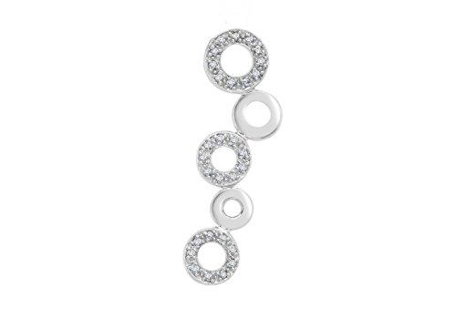 Diamant Or Blanc 9Carats Motif Cercle Rideaux Coulissant pour pendentif