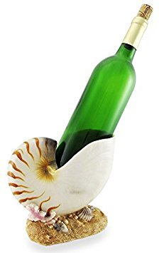 (Ocean Coral Reef Beautiful Giant Nautilus Sea Shell Wine Oil Bottle Holder Figurine Kitchen For Wine Enthusiasts Marine Life Lovers Surfers and Nautical Home Decor)