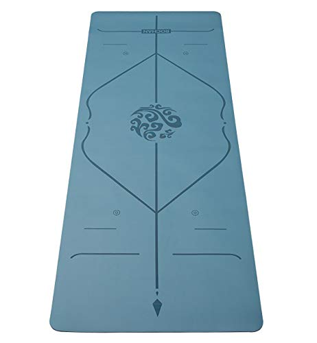 Rochan Eco Friendly Yoga Mat with Alignment Lines Non Slip Exercises Mat with Carrying Bag and Strap Optimal Cushioning Workout Mat for Women Men Fitness (Blue)