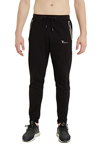 TBMPOY Men's Active Running Pants Open Bottom Sweatpants with Zipper Pockets(Black,us M)