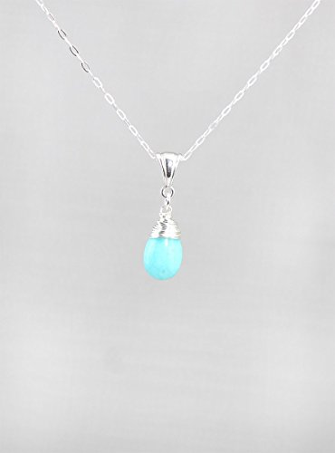 Blue Amazonite Gemstone Minimalist Pendant Necklace with Sterling Silver Chain - 18