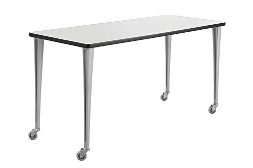 Rumba Tables, Fixed Post Leg Table with Casters, 60 x 24'' Gray Tabletop & Metallic Gray Base by Safco