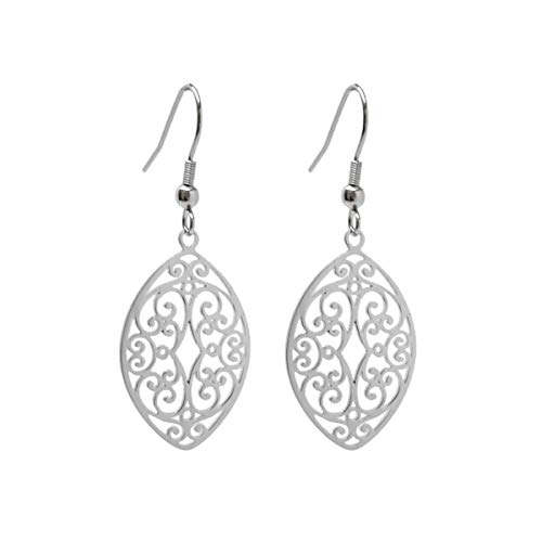 LD Silver Stainless Steel Filigree Oval Almond Dangle Earrings French Hook