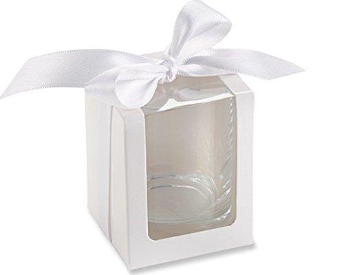 White Shot Glass/Votive Holder Gift Box (Set of (Kate Aspen Glass Candle)