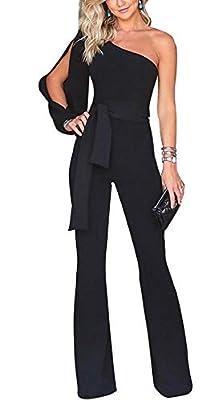 Voghtic Women's Elegant One Shoulder Long Sleeve Jumpsuits High Waisted Romper with Belt