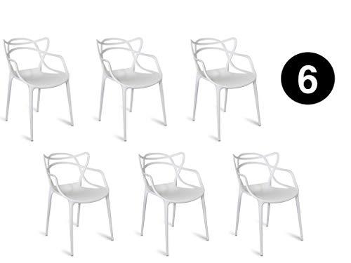 Master Lot De 6 Chaises Blanches De Style Interieur Exterieur Moderne Retro Salle A Manger