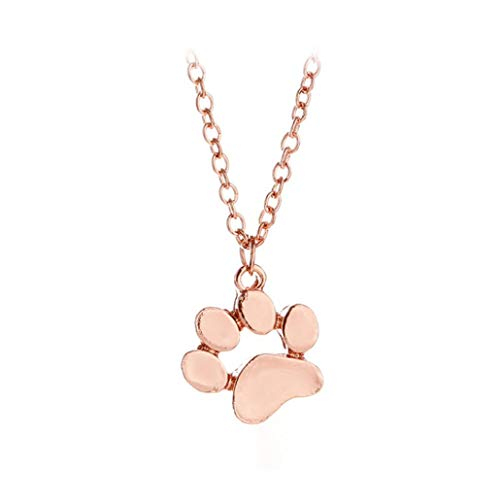 Plated Footprints Heart - Clearance Necklace Laimeng_World European Popular Dog Footprint Pendant Necklace Animal Pendant Necklace Jewelry (Rose Gold)