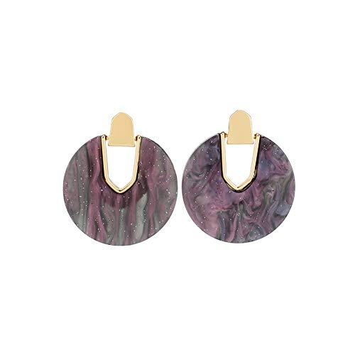 (Acrylic Resin Hoop Earrings - Tortoise Shell Earrings for Women Boho Jewelry, Great for Sister, Friends, Mom (Star pattern))