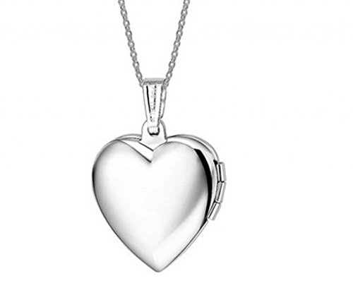 Infinite U Fashion Open Love Heart Photo Locket Platinum Plated Pendant Necklace for Girls/Children/Women, Customized Engraved Available-blue