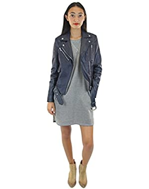 Women's Zip Moto Jacket with Tonal Stitch
