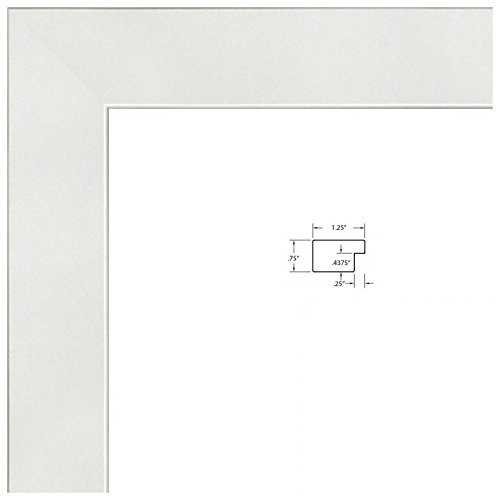 """ArtToFrames 24x36 Inch White Picture Frame, This 1.25"""" Custom Poster Frame is Satin White Frame, for Your Art or Photos, WOMFRBW26074-24x36"""