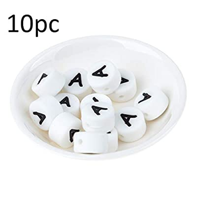 Biter teether 10pc Letters Bulk Silicone Beads 12MM Personalized Chewing Beads Food Grade BPA Free Round Alphabet Letter Beads Safe DIY Jewelry Beads Toy for Making Teething Necklace Bracelet(A): Toys & Games