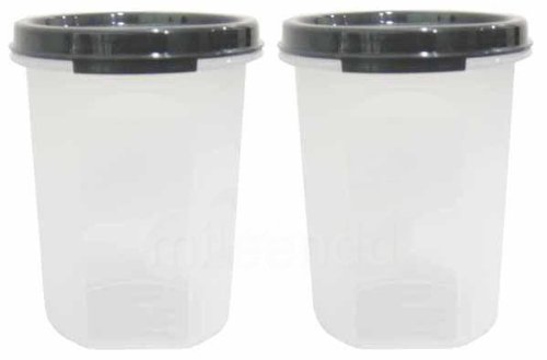 TUPPERWARE 440ML MODULAR MATES ROUND 2 II BLACK (2) (Tupperware Square Round Lids)