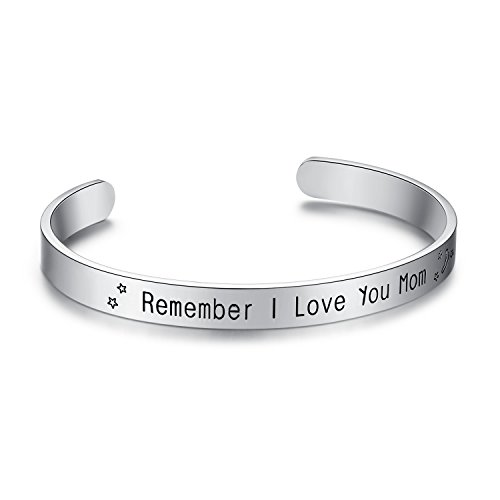 Milamiya Remember I Love You Mom#039 Cuff Bangle Bracelets Jewelry for Women Birthday Gifts for Mom from Daughter Son Thanksgiving Christmas Anniversary Day Gift Smooth Silver