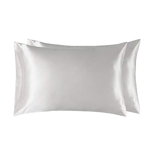 Bedsure Two-Pack Satin Pillowcases Set for Hair Cool and Easy to WASH Queen Size 20x30 Pure White with Envelope Closure