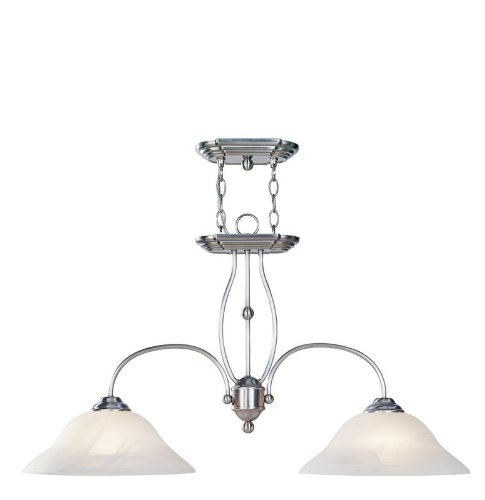 Livex Brushed Nickel Island (Livex Lighting 4172-91 Island Pendant with White Alabaster Glass Shades, Brushed Nickel)