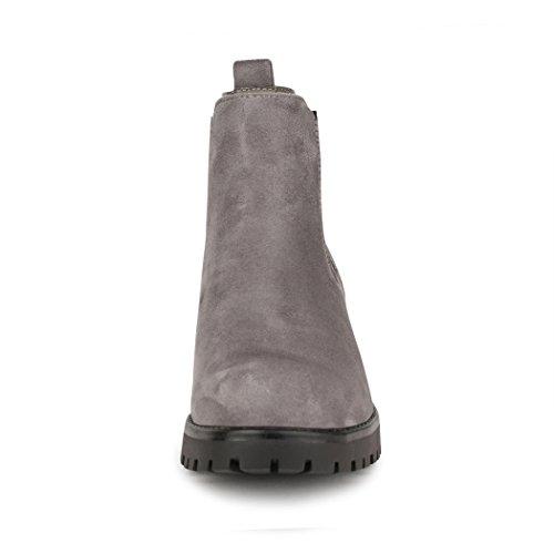 best-boots Damen Stiefelette Boots Grau Samt