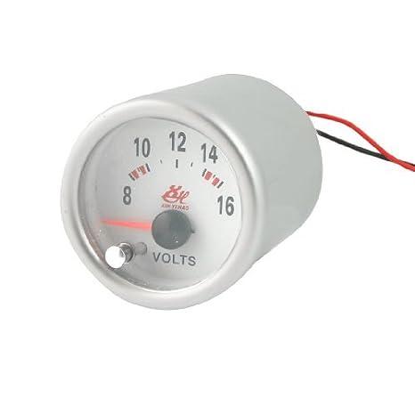 Amazon.com: eDealMax de vehículos 0 a 16 voltios de tensión 52mm Ronda Indicador voltímetro Gauge: Automotive
