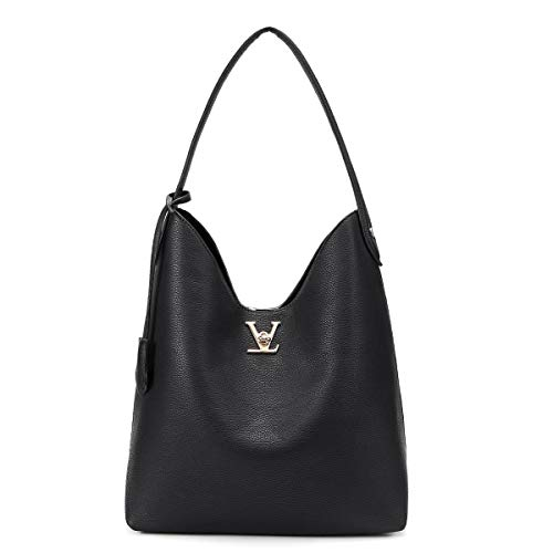 Womens Hobo Shoulder Bags Large Capacity Tote Handbags with Golden V Turn Lock