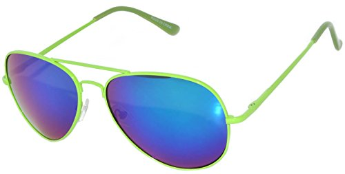 Classic Aviator Sunglasses Mirror Lens Green Neon Metal Frame Spring (Neon Aviator Sunglasses)