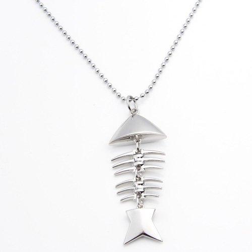 "Ecloud ShopUS® Silver Tone Fish Bone Metal Pendant Necklace Ball Chain Women 3x1"""