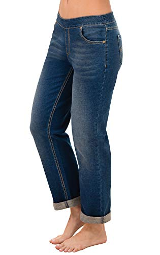 PajamaJeans Women's Boyfriend Stretch Knit Denim Jeans, Bluestone, Small 4-6