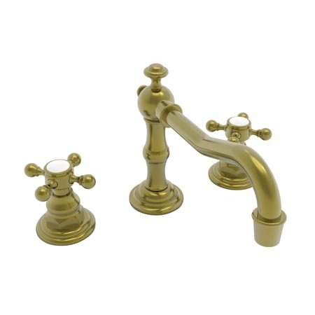 Newport Brass 930/04 Chesterfield Double Handle Widespread Lavatory Faucet with Metal Cross Handles (, Satin Brass (Double Brass Handle 930)